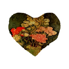 Still Life Vase With Rose Mallows By Vincent Van Gogh 1890  16  Premium Heart Shape Cushion
