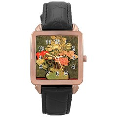 Still Life Vase With Rose Mallows By Vincent Van Gogh 1890  Rose Gold Leather Watch