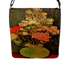 Still Life Vase With Rose Mallows By Vincent Van Gogh 1890  Flap Closure Messenger Bag (Large)