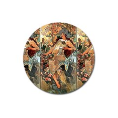 Autumn By Alfons Mucha 1896 Magnet 3  (Round)