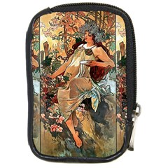 Autumn By Alfons Mucha 1896 Compact Camera Leather Case