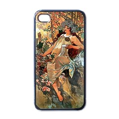 Autumn By Alfons Mucha 1896 Apple iPhone 4 Case (Black)