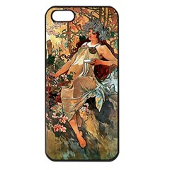 Autumn By Alfons Mucha 1896 Apple iPhone 5 Seamless Case (Black)