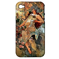 Autumn By Alfons Mucha 1896 Apple iPhone 4/4S Hardshell Case (PC+Silicone)