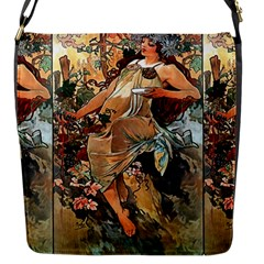 Autumn By Alfons Mucha 1896 Flap closure messenger bag (Small)