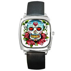 Sugar Skull Square Leather Watch