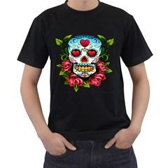 Sugar Skull Mens' Two Sided T-shirt (Black)