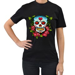 Sugar Skull Womens' Two Sided T-shirt (Black)