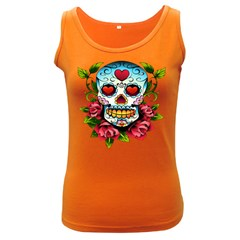 Sugar Skull Womens  Tank Top (Dark Colored)