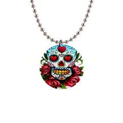 Sugar Skull Button Necklace