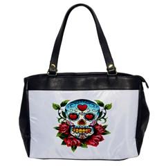Sugar Skull Oversize Office Handbag (One Side)