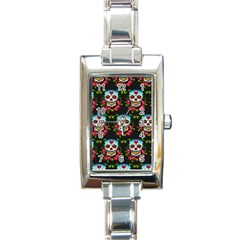 Sugar Skull Rectangular Italian Charm Watch