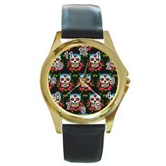 Sugar Skull Round Metal Watch (Gold Rim)