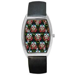 Sugar Skull Tonneau Leather Watch