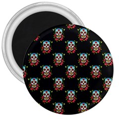 Sugar Skull 3  Button Magnet