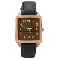 Brown Nose Weave Rose Gold Leather Watch