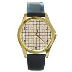 Champagne Weave Round Metal Watch (Gold Rim)