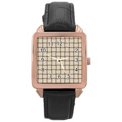 Champagne Weave Rose Gold Leather Watch