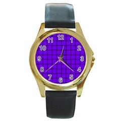 Violet Weave Round Metal Watch (gold Rim)