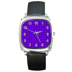 Violet Weave Square Leather Watch