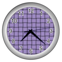 Light Pastel Purple Weave Wall Clock (Silver)