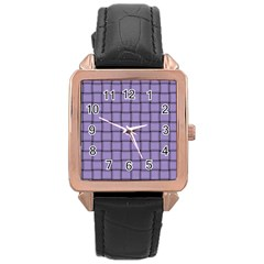 Light Pastel Purple Weave Rose Gold Leather Watch