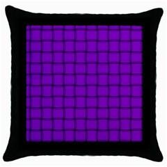 Dark Violet Weave Black Throw Pillow Case