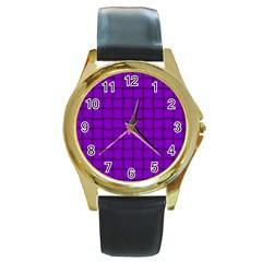 Dark Violet Weave Round Metal Watch (gold Rim)