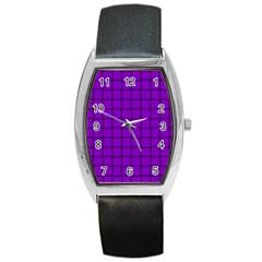 Dark Violet Weave Tonneau Leather Watch