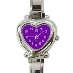 Dark Violet Weave Heart Italian Charm Watch