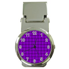 Dark Violet Weave Money Clip with Watch
