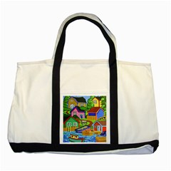 Three Boats & A Fish Table Two Toned Tote Bag