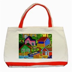 Three Boats & A Fish Table Classic Tote Bag (Red)