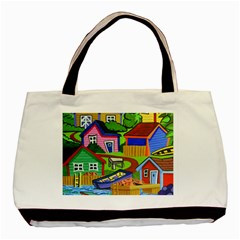 Three Boats & A Fish Table Twin-sided Black Tote Bag