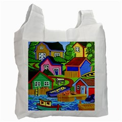 Three Boats & A Fish Table Recycle Bag (Two Sides)