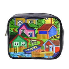 Three Boats & A Fish Table Mini Travel Toiletry Bag (Two Sides)