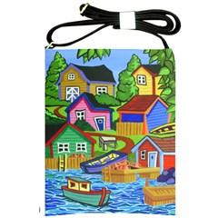 Three Boats & A Fish Table Shoulder Sling Bag