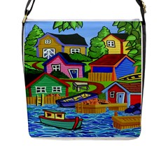 Three Boats & A Fish Table Flap Closure Messenger Bag (Large)