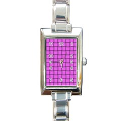 Ultra Pink Weave  Rectangular Italian Charm Watch