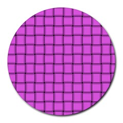 Ultra Pink Weave  8  Mouse Pad (Round)