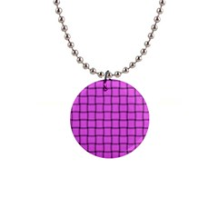 Ultra Pink Weave  Button Necklace