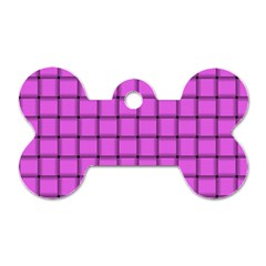 Ultra Pink Weave  Dog Tag Bone (Two Sided)