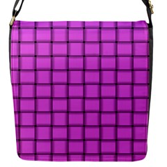 Ultra Pink Weave  Flap Closure Messenger Bag (small)