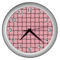 Light Pink Weave Wall Clock (Silver)