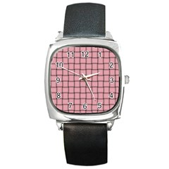 Light Pink Weave Square Leather Watch