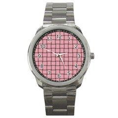 Light Pink Weave Sport Metal Watch