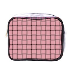 Light Pink Weave Mini Travel Toiletry Bag (one Side)