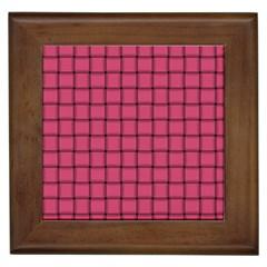 Dark Pink Weave Framed Ceramic Tile