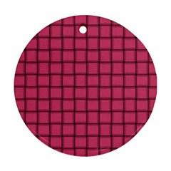 Dark Pink Weave Round Ornament