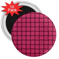 Dark Pink Weave 3  Button Magnet (10 Pack)